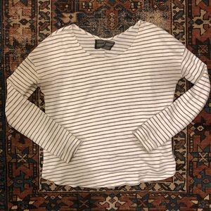 Reformation striped long sleeve scoop neck tee